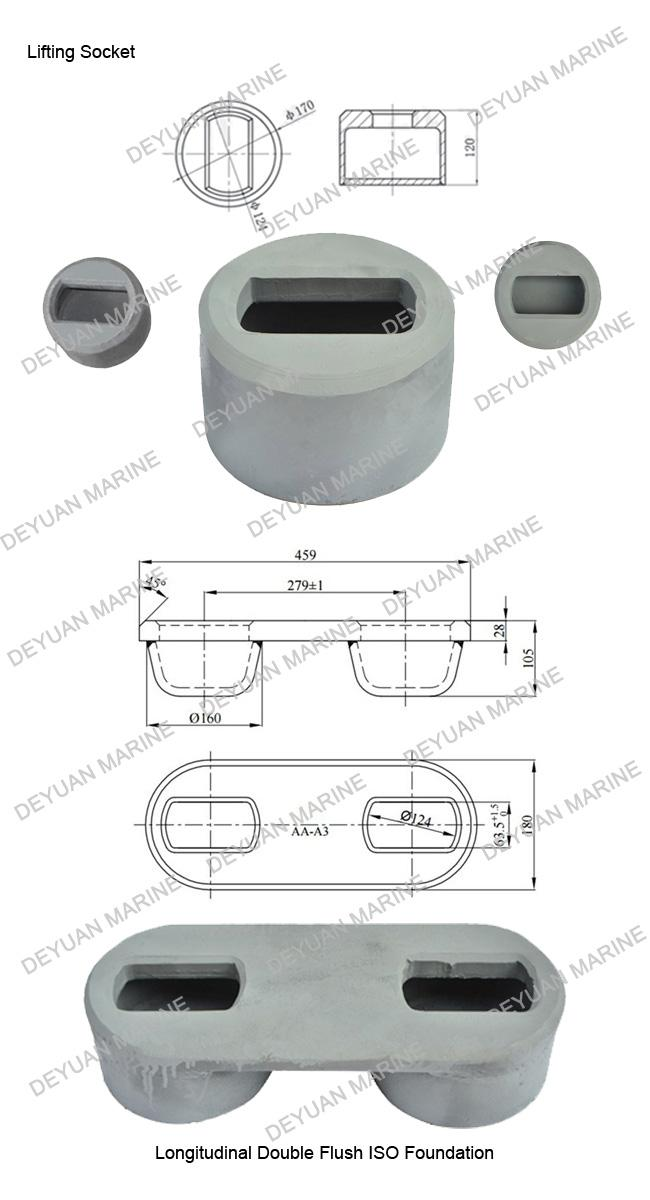 Shipping Container Parts Lifting  Socket Longitudinal Double Flush